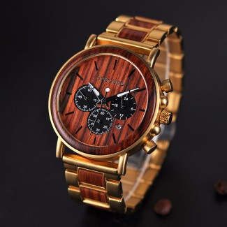 Kovovo drevené náramkové hodinky BBD Z06