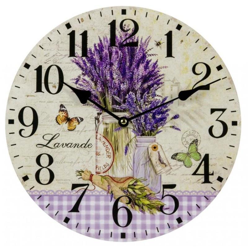 Nástenné hodiny levanduľa a motýle D 30cm