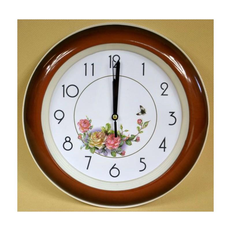 Nástenné hodiny plastové ruže 26cm