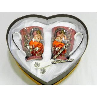 Porcelánová súprava srdce vzor A. Mucha