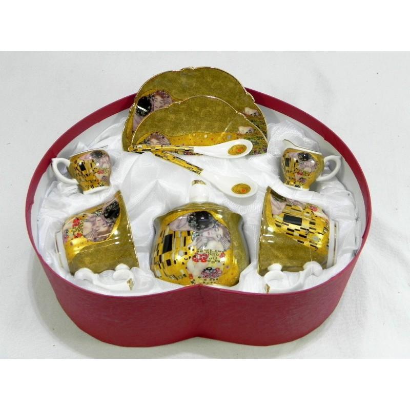 Porcelánová súprava srdce s motívom Gustava Klimta