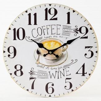 Nástenné hodiny Coffee Wine 34cm