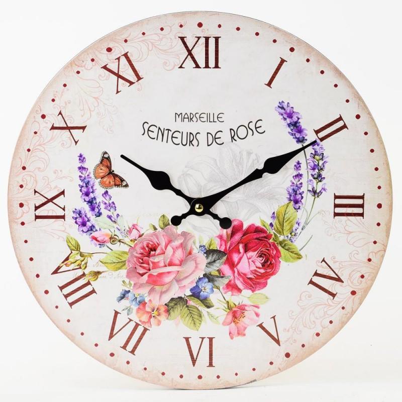 Nástenné hodiny Senteurs de Rose 34cm