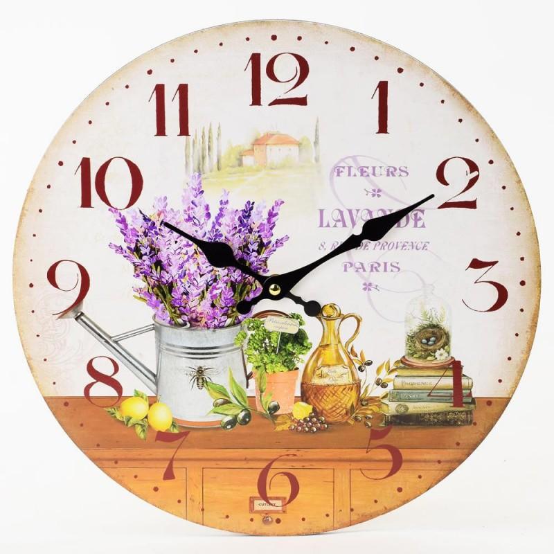 Nástenné hodiny Fleurs Lavande 34cm