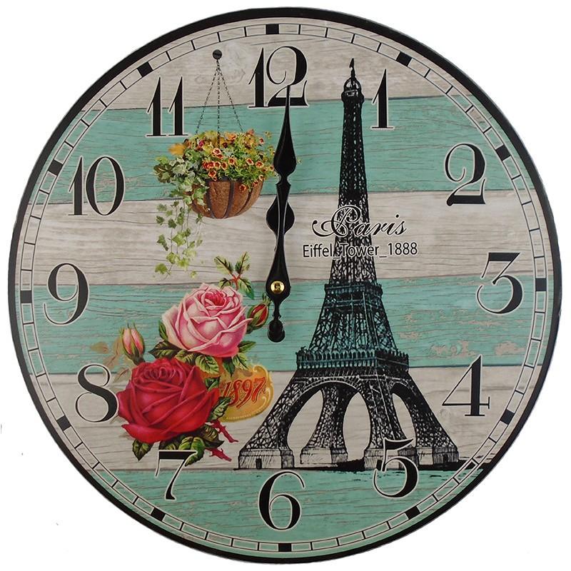 Nástenné hodiny Eiffelova veža 34cm