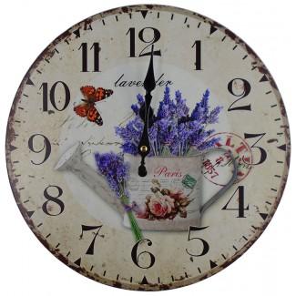Nástenné hodiny levanduľa v konvičke 34cm