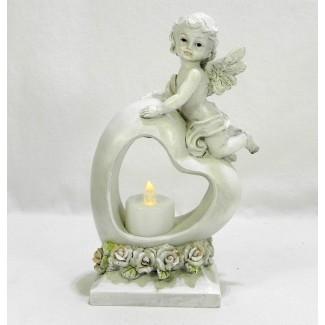 Anjel na srdci s LED sviečkou