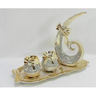 Dekoračný keramický svietnik mašľa