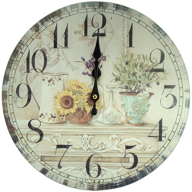 Nástenné hodiny slnečnice a olivovník 34cm