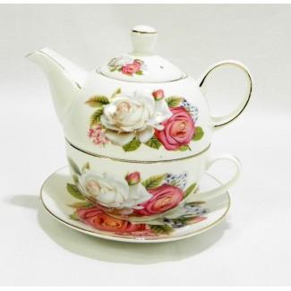Porcelánová súprava čajník s ružami