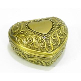 Kovová šperkovnica srdce