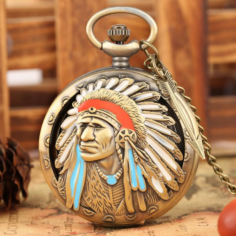 Vreckové hodinky Indiánsky náčelník