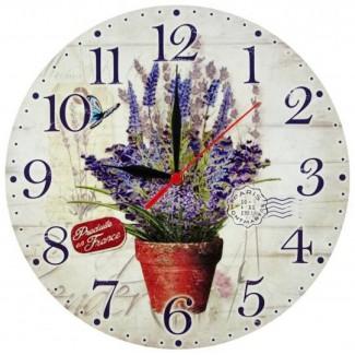 Nástenné hodiny Levanduľa v črepníku 28,5cm