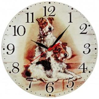 Nástenné hodiny dva psy 28,5cm