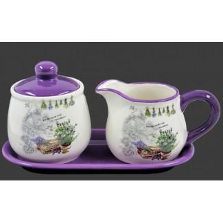 Keramická cukornička a mliečnik na tácke vzor Provence