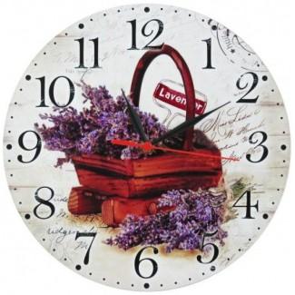 Nástenné hodiny kytice levandule v drevenej nádobke 28,5cm