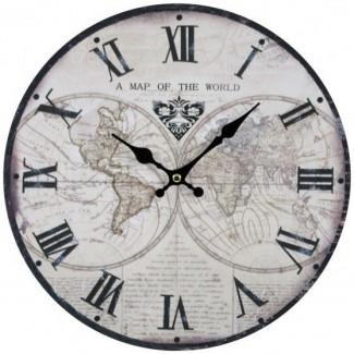 Nástenné hodiny mapa sveta s rímskymi číslicami 30cm
