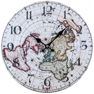 Nástenné hodiny mapa sveta 30cm