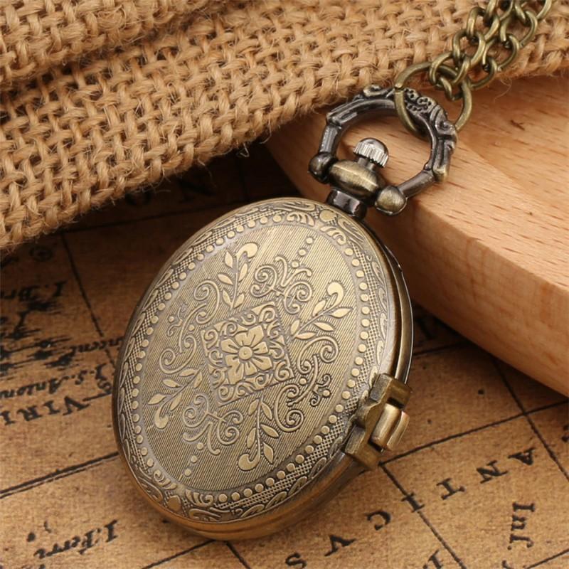 Vreckové hodinky dámske, oválne, kvetinový vzor