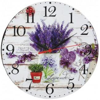 Nástenné hodiny levanduľa v bielom kvetináči 28,5cm