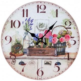Nástenné hodiny jarná záhrada 30cm