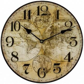 Drevené nástenné hodiny mapa sveta 30cm