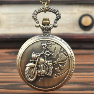 Vreckové hodinky kostlivec na motorke