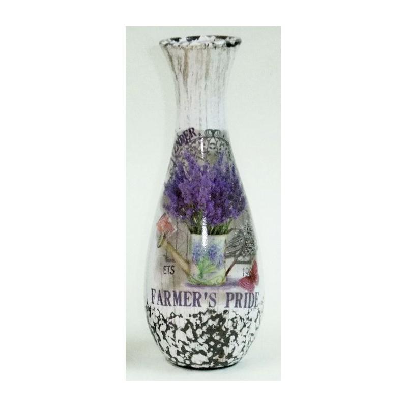 Keramická váza levanduľa v konvičke