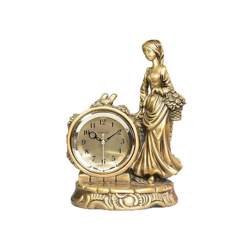 Stolové hodiny žena a dve vtáčiky