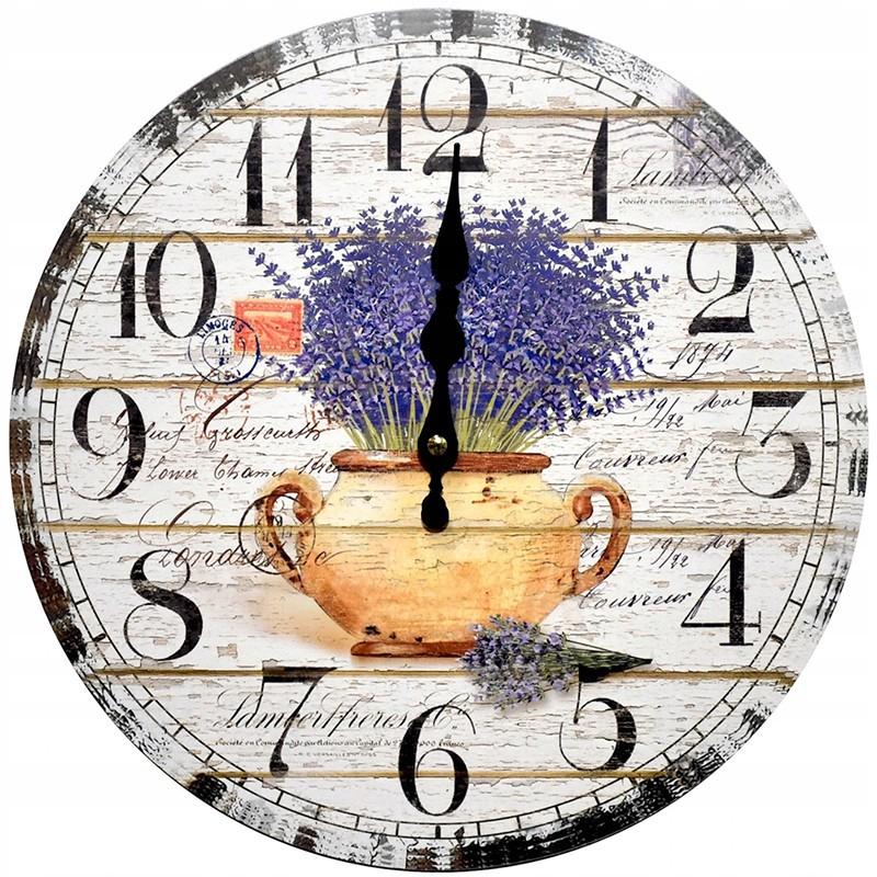 Nástenné hodiny levanduľa v kvetináči 34cm