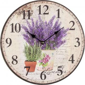 Nástenné hodiny levanduľa v plechovom kvetináči 30cm