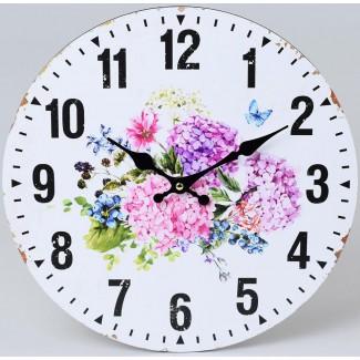 Nástenné hodiny kvety a čučoriedky 34cm