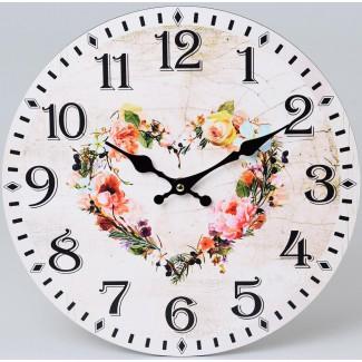 Nástenné hodiny kvetinové srdce 34cm
