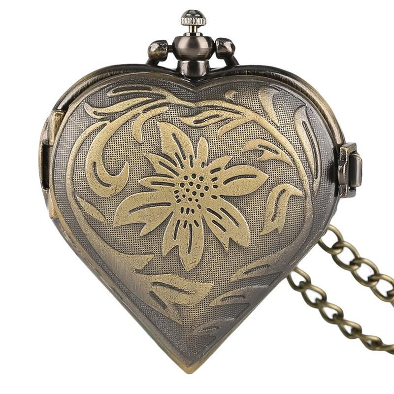 Vreckové hodinky bronzové srdce