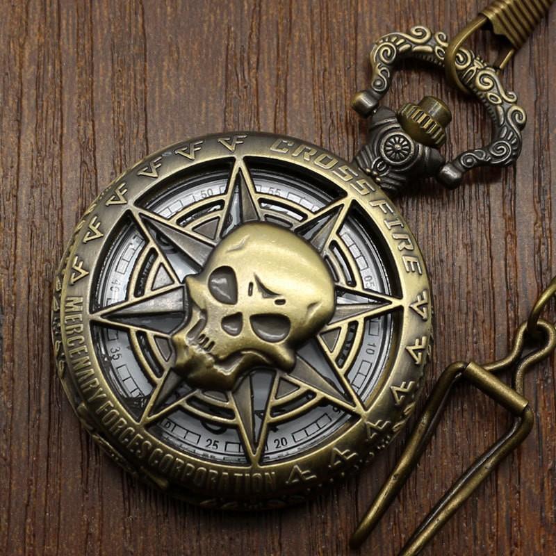 Vreckové hodinky piratska lebka