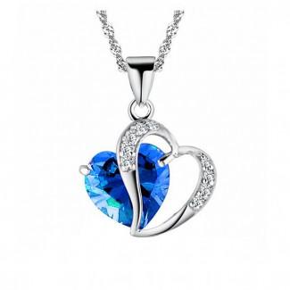 Náhrdelník srdce modrý kamienok
