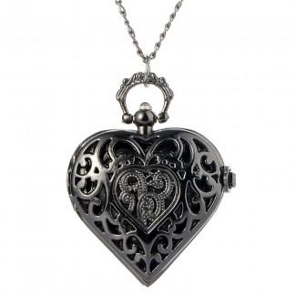 Vreckové hodinky čierne srdce
