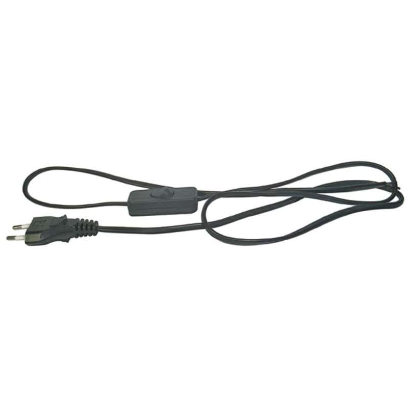 Šnúra flexo PVC s vypínačom 2x0,75mm 3m čierna
