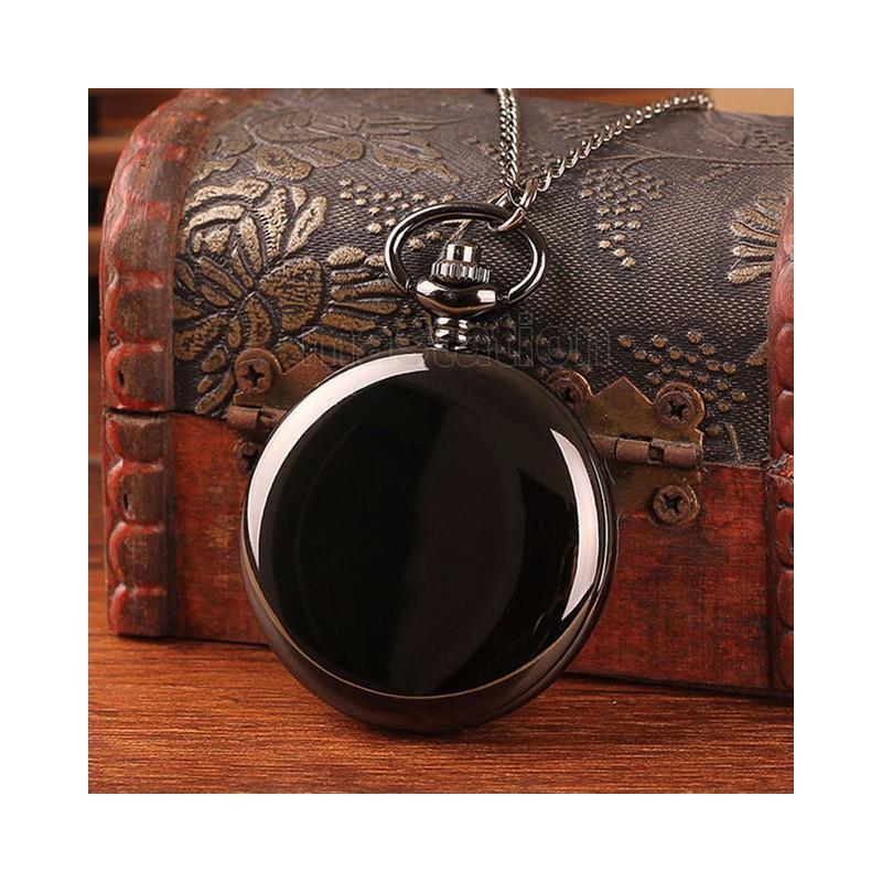 Vreckové hodinky čierne lesklé