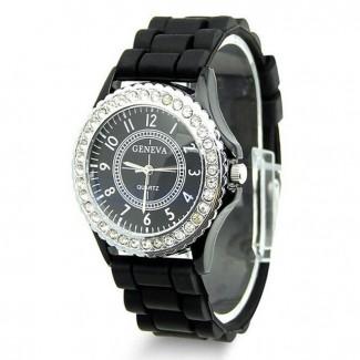 Dámske náramkové hodinky Geneva Diamonds čierne