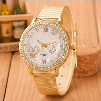 Dámske náramkové hodinky Diamonds Gold