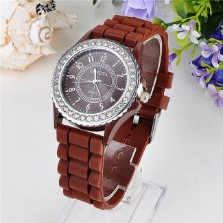 Dámske náramkové hodinky Geneva Diamonds hnedé