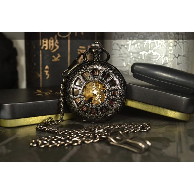 Vreckové hodinky mechanické Antique Skeleton Black