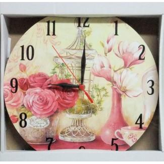 Nástenné hodiny ruže a váza 29cm