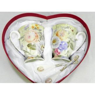 Porcelánová súprava srdce vzor mix kvetov