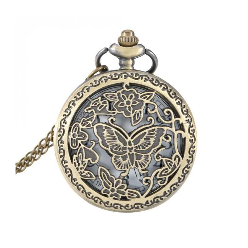 Vreckové hodinky Motýľ medzi kvetmi
