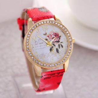 Dámske náramkové hodinky Pivonka červené