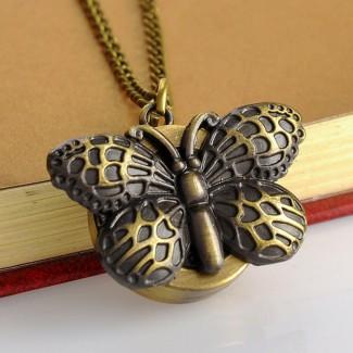 Vreckové hodinky Motýľ bronzový