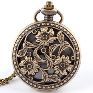 Vreckové hodinky kvety VHK2