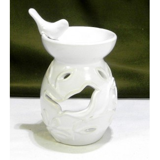 Aromalampa kvety a vtáčik biela
